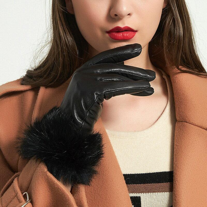 真皮手套保暖手套-羊皮加絨兔毛腕口女手套3色73wm61【獨家進口】【米蘭精品】 2