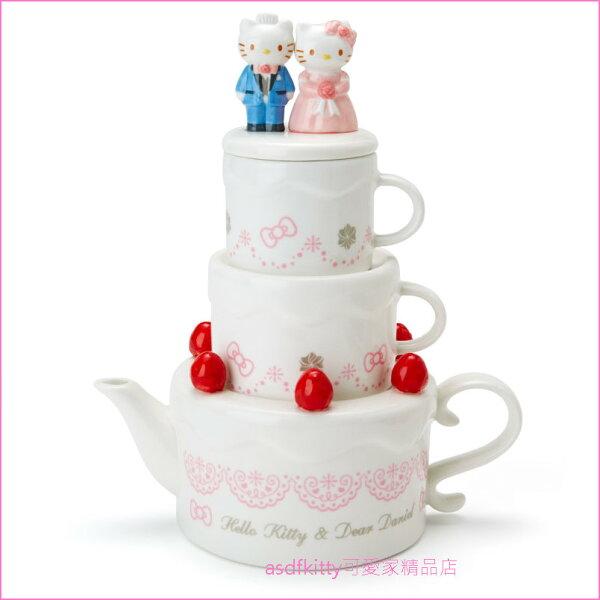 asdfkitty可愛家☆KITTY結婚蛋糕造型陶瓷茶具組(茶壺*1+茶杯*2)-日本正版商品