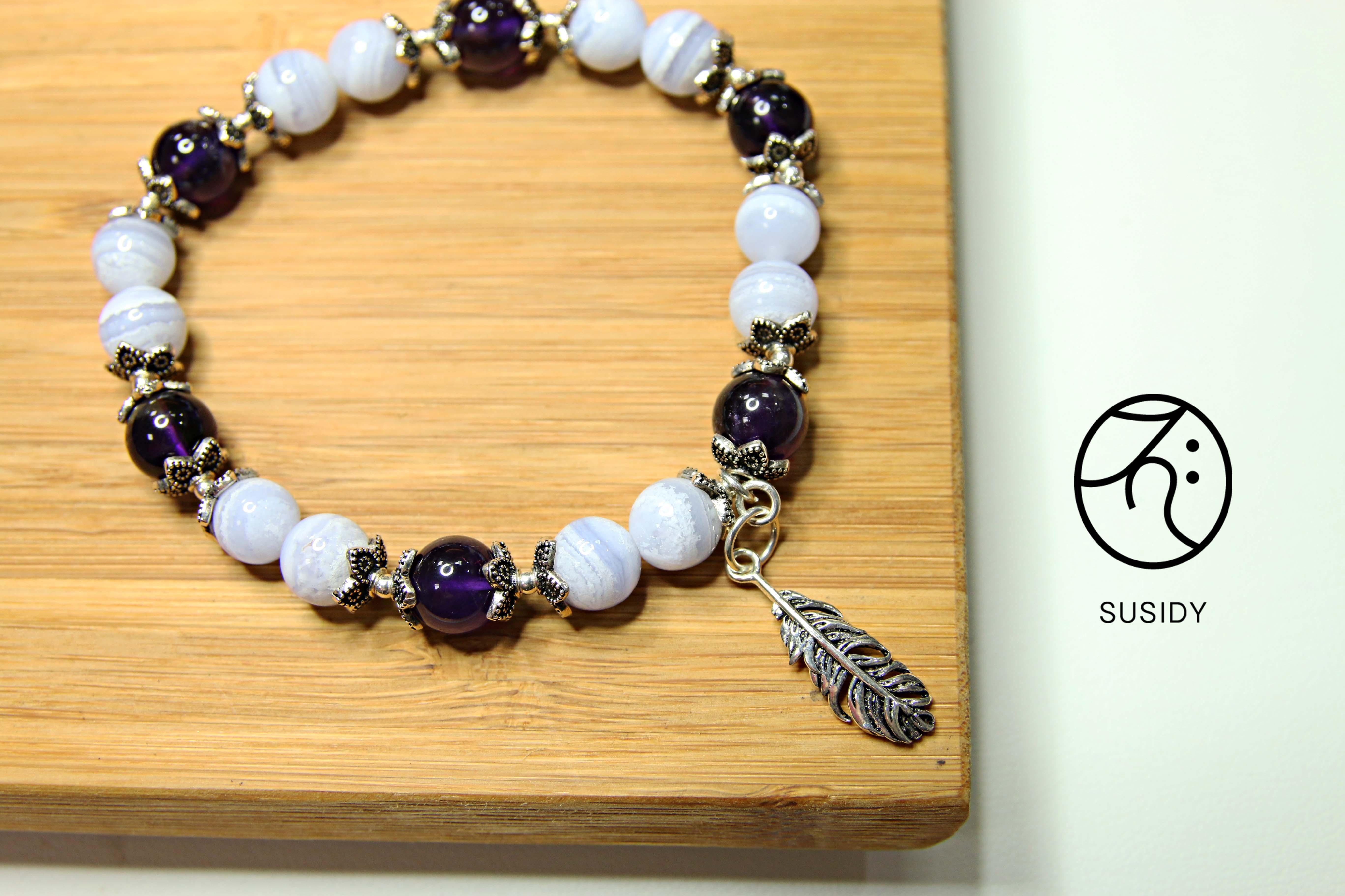 SusidyDesign - 藍紋瑪瑙 手珠銀飾