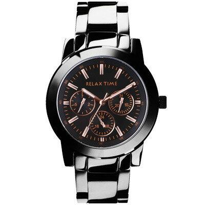 大高雄鐘錶城:RELAXTIME三眼黑x玫時尚腕錶(R0800-16-10X)42.5mm