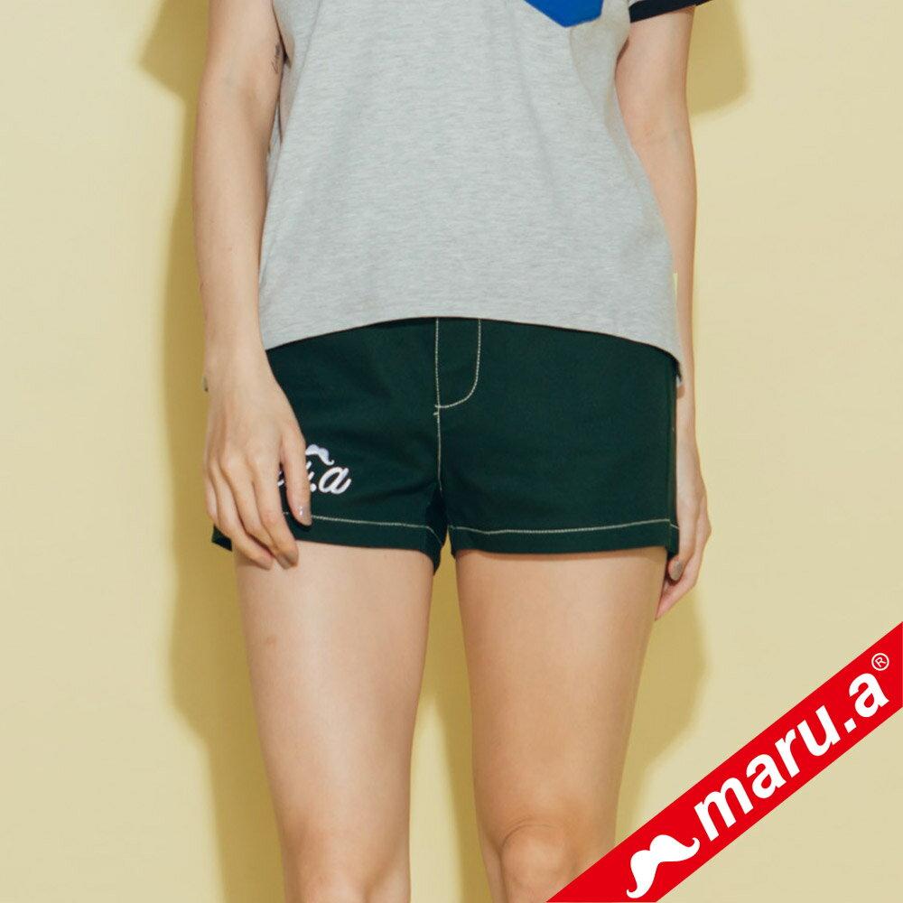 【maru.a】網路限定款*刺繡雙口袋皮標鬆緊帶短褲(2色)8985112 1