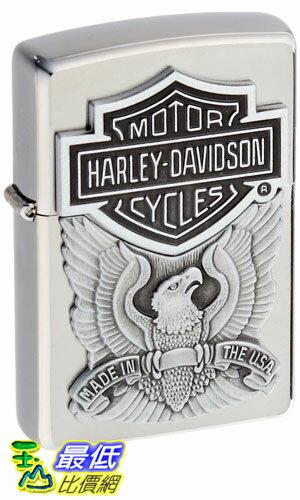 [104 美國直購] Zippo Harley-Davidson Eagle/Logo Emblem Lighter (Silver, 5 1/2 x 3 1/2 cm) 打火機