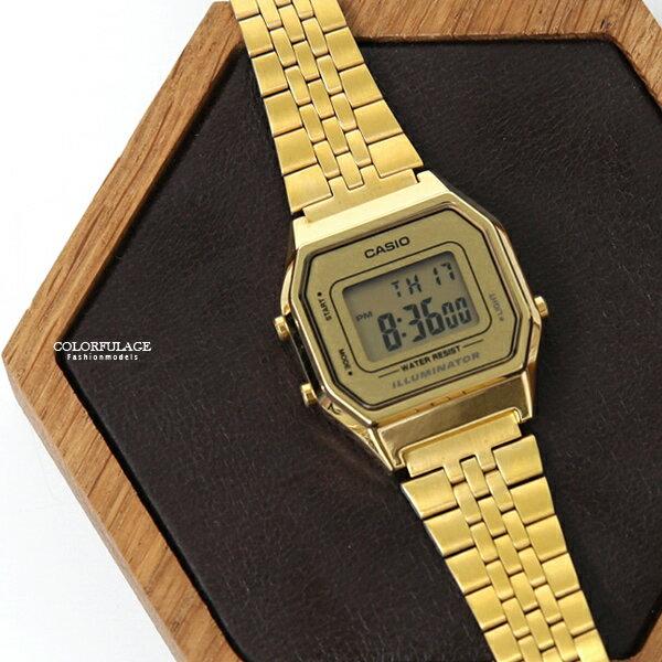 CASIO卡西歐金色方型復古電子錶【NEC142】