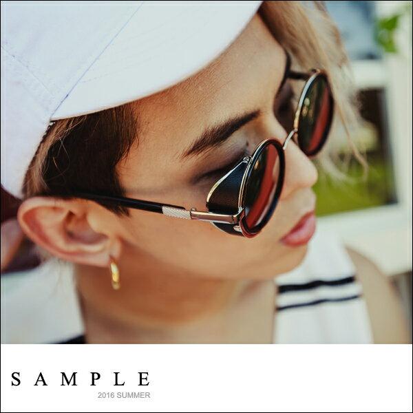 墨鏡 正圓 金屬感反光側邊擋風太陽眼鏡~TS16824~~ SAMPLE