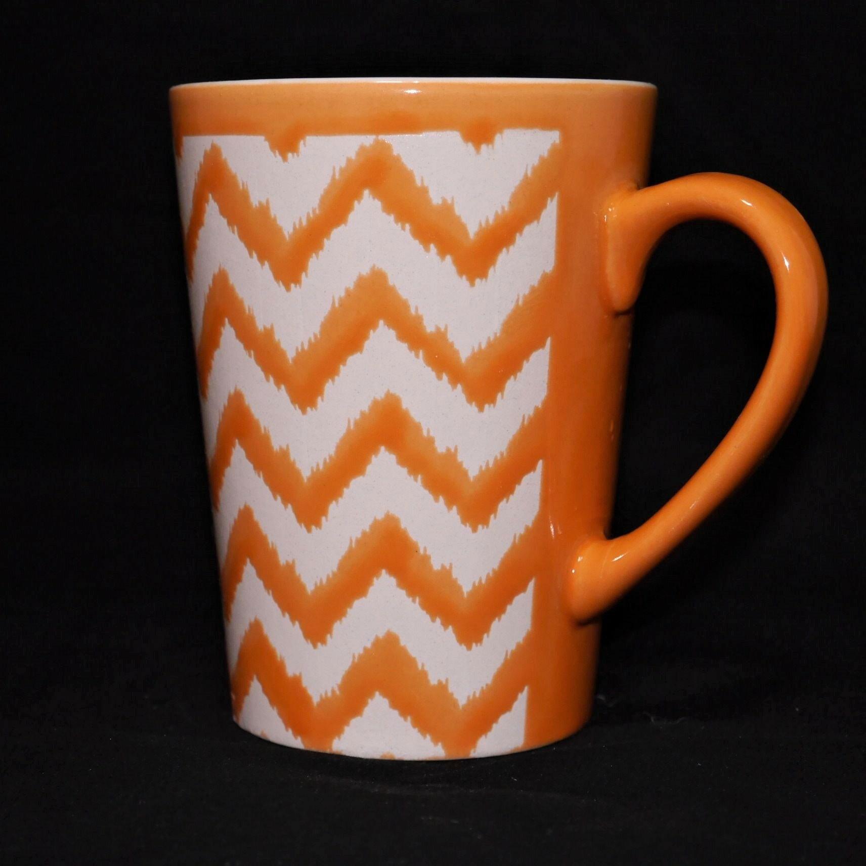 馬克杯橘色幾何紋500ml【曉風】 2