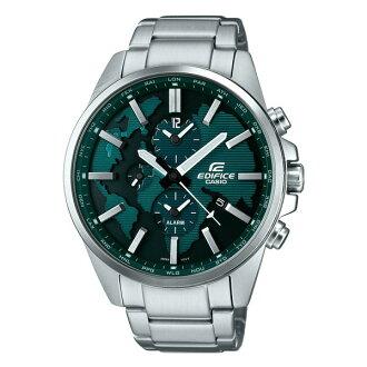 CASIO EDIFICE ETD-300D-3A雙時區地圖時尚腕錶/綠面46mm