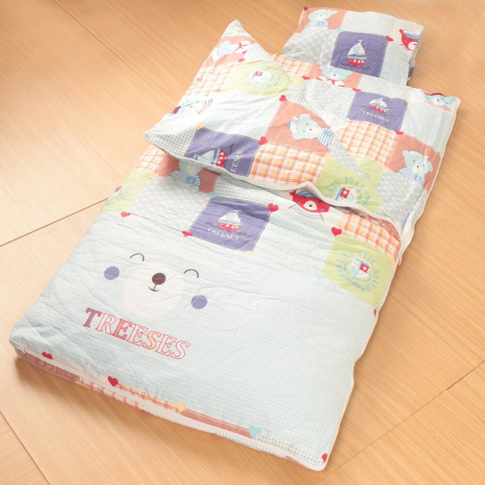床之戀嚴選 純棉被套可拆式被胎四季兒童睡袋毯附枕心~帆船水手熊(MJ0539)