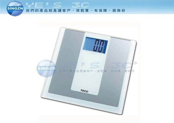 「YEs 3C 」TECO 東元數位冷光體重計 XYFWT481 銀白  yes3c