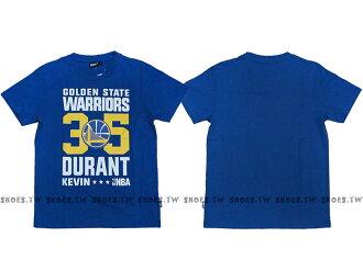 Shoestw【8660258-123】NBA T恤 金州 勇士隊 35號 DURANT KEVIN 藍色 短袖棉T