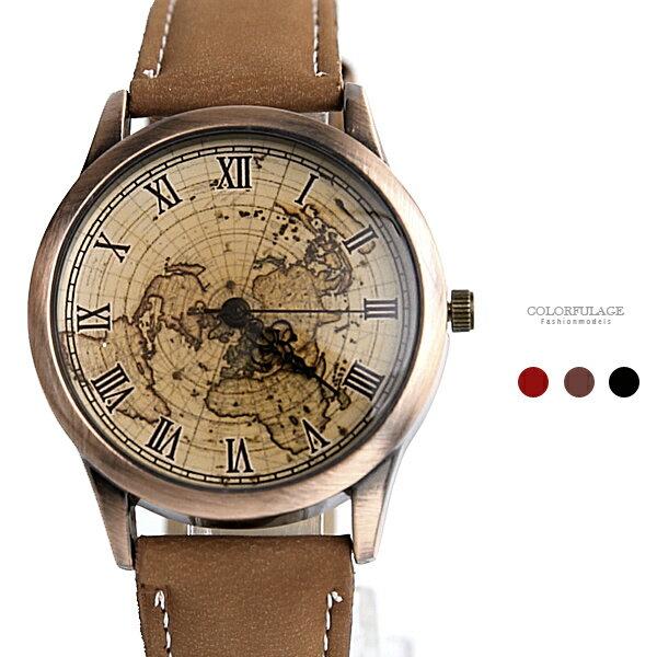 手錶 羅馬刻度世界地圖腕錶【NE1956】柒彩年代