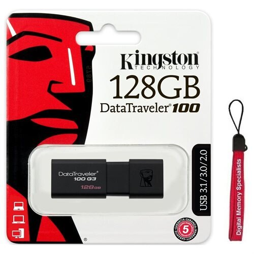 Kingston 128GB DataTraveler 100 G3 128G USB 3.0 100MB/s DT100G3 Flash Pen Thumb Drive DT100G3/128GB + USB Lanyard 0