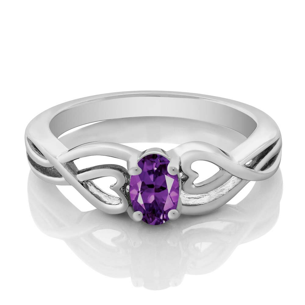0.35 Ct Oval Purple Amethyst 925 Sterling Silver Ring 1
