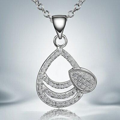 925純銀項鍊 鑲鑽吊墜~可愛 水滴氣質母親節生日 女 73ax29~ ~~米蘭 ~