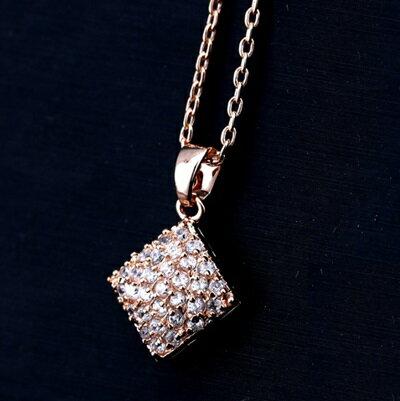玫瑰金項鍊 鑲鑽純銀吊墜~ 大方簡約菱形生日情人節 女飾品73dw118~ ~~米蘭 ~
