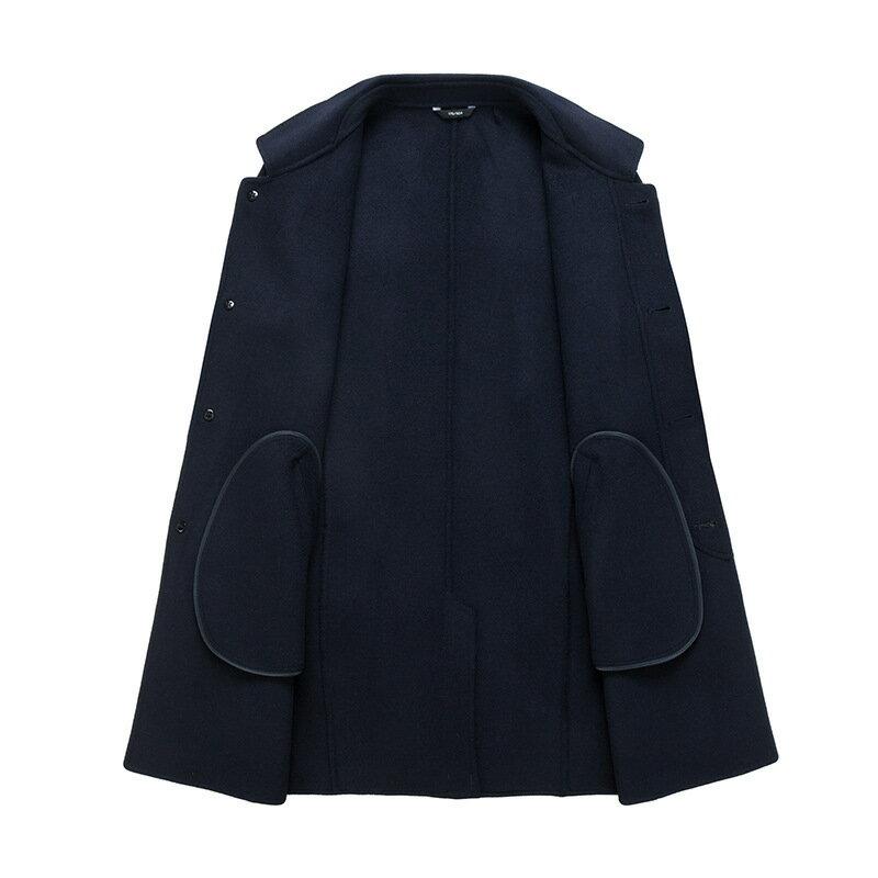 毛呢大衣中長版風衣-休閒修身翻領單排扣男外套2色73wk18【獨家進口】【米蘭精品】 1