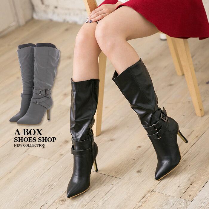 格子舖*【KFQC-2】日韓潮流時尚 高質感透氣抓皺皮革 9CM細高跟長靴 機車靴 直筒靴 2色 0