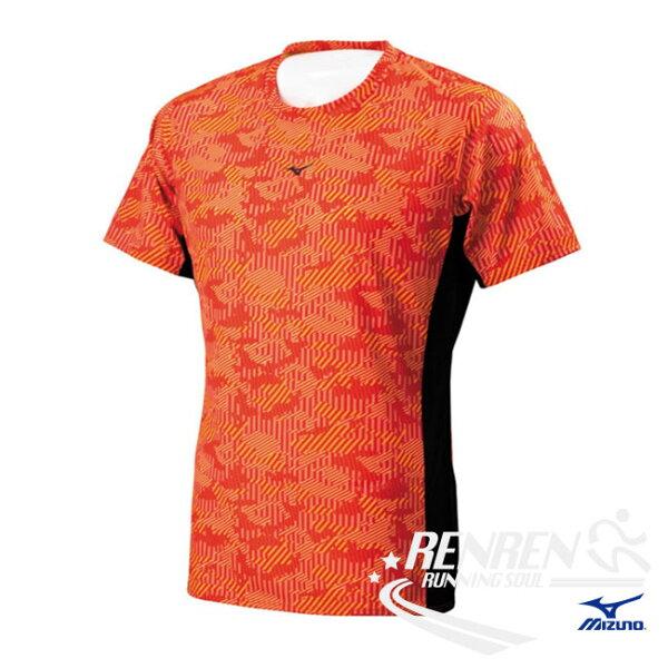 美津濃MIZUNO男短袖T恤(紅黑)抗菌消臭、吸汗速乾J2TA700262【胖媛的店】