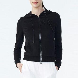 美國百分百【全新真品】Armani Exchange 棉質 連帽 外套 logo 夾克 AX 黑色 女 H698