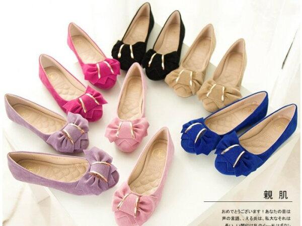 Pyf♥金屬裝飾蝴蝶結絨面圓頭娃娃包鞋超舒適百搭上班鞋女鞋休閒鞋43大尺碼女鞋