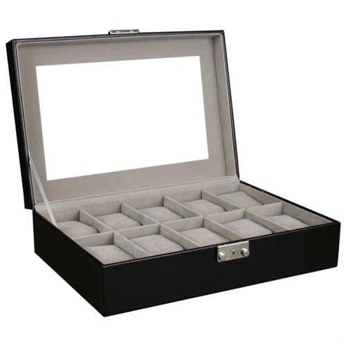 Kendal Watch Case Display Box With Clear Top Holds 10 Watches lock w/ key 3