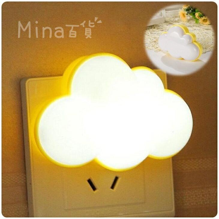 (mina百貨) 雲朵LED感應燈 四葉草造型 小夜燈 床頭燈 插電 節能 臥室 光控感應【F0243】