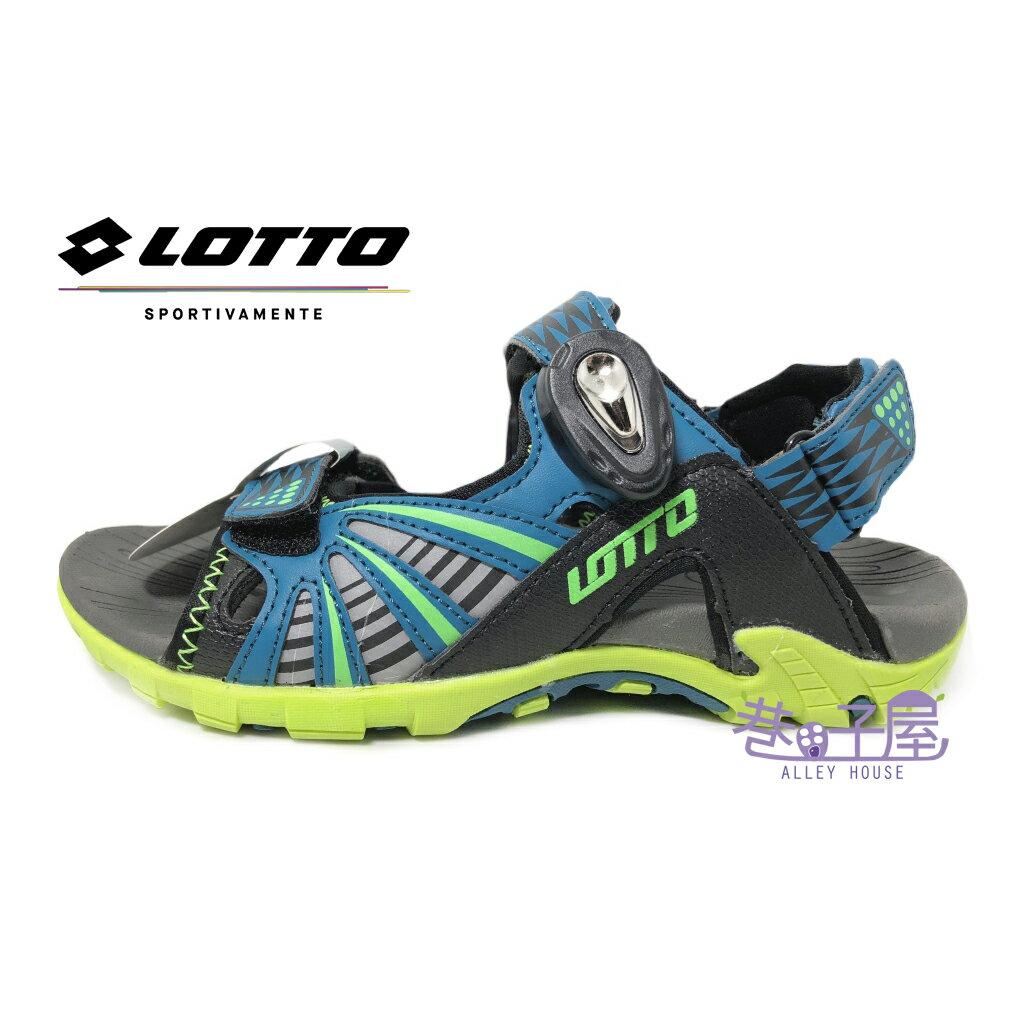 【巷子屋】義大利第一品牌-LOTTO樂得 大童透氣排水機能磁扣兩穿式涼拖鞋 涼鞋 拖鞋 [5255] 湖水綠 超值價$398