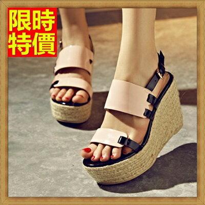 楔型涼鞋厚底涼鞋-夏日草編時尚高跟真皮女坡跟涼鞋2色69w45【獨家進口】【米蘭精品】
