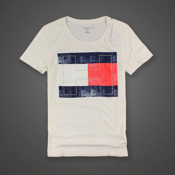 美國百分百【Tommy Hilfiger】T恤 TH 男 圓領 T-shirt 短袖 短T logo 米白M號 H767