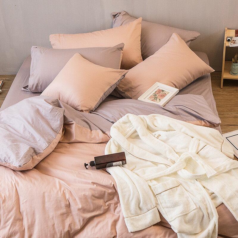床包  /  單人-100%精梳棉【撞色系列-可可粉】含一件枕套 經典素色 台灣製 戀家小舖 3