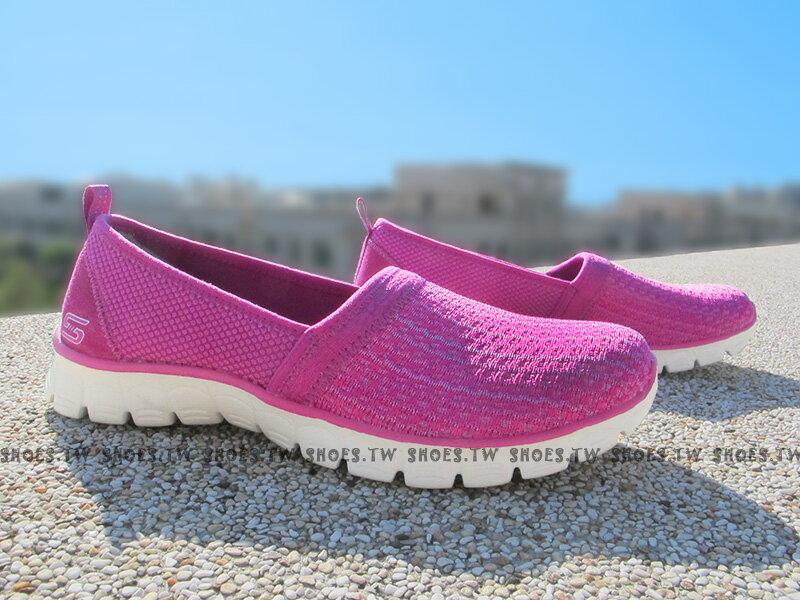 《下殺5折》[23.5cm] Shoestw【23400RAS】SKECHERS 健走鞋 GOFLEX 娃娃鞋 淑女鞋 桃紅網布 記憶泡棉鞋墊