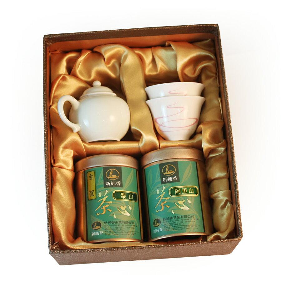 台灣茶(阿里山高山茶+梨山金萱茶)搭配一壺二品杯禮盒