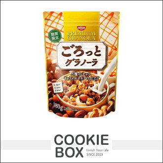 日本 日清 堅果 穀片 焦糖瑪奇朵 風味 180g 麥片 穀物 早餐 點心 期間限定 *餅乾盒子*