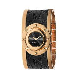Gucci 古吉YA112438玫瑰金大手環時尚腕錶/黑色面23.5mm
