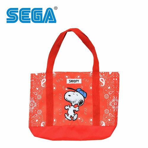 紅色款【日本正版】史努比肩揹提袋手提袋肩背包托特包SnoopySEGA-334877