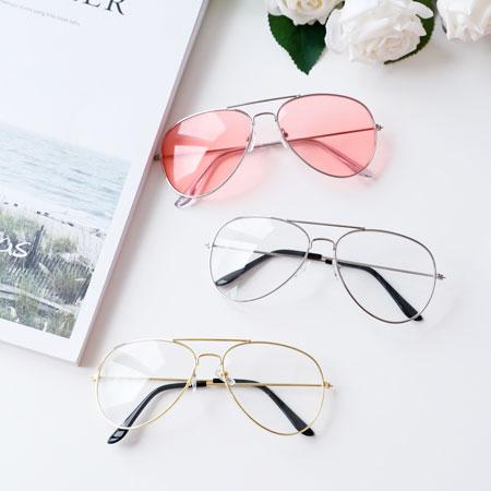 復古經典金屬大框眼鏡細框平光眼鏡造型文青經典飛官款【B063131】