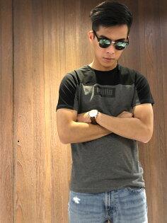 美國百分百【全新真品】PUMA短袖T恤上衣圓領男款T-shirt拼色撞色logo黑灰S號I892
