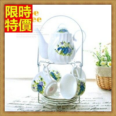 下午茶茶具 含茶壺+咖啡杯組合-4人玫瑰圖騰簡約英式陶瓷茶具6色69g26【獨家進口】【米蘭精品】