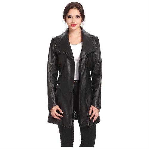"BGSD Women's ""Fiona"" New Zealand Lambskin Leather Trench Coat 1"