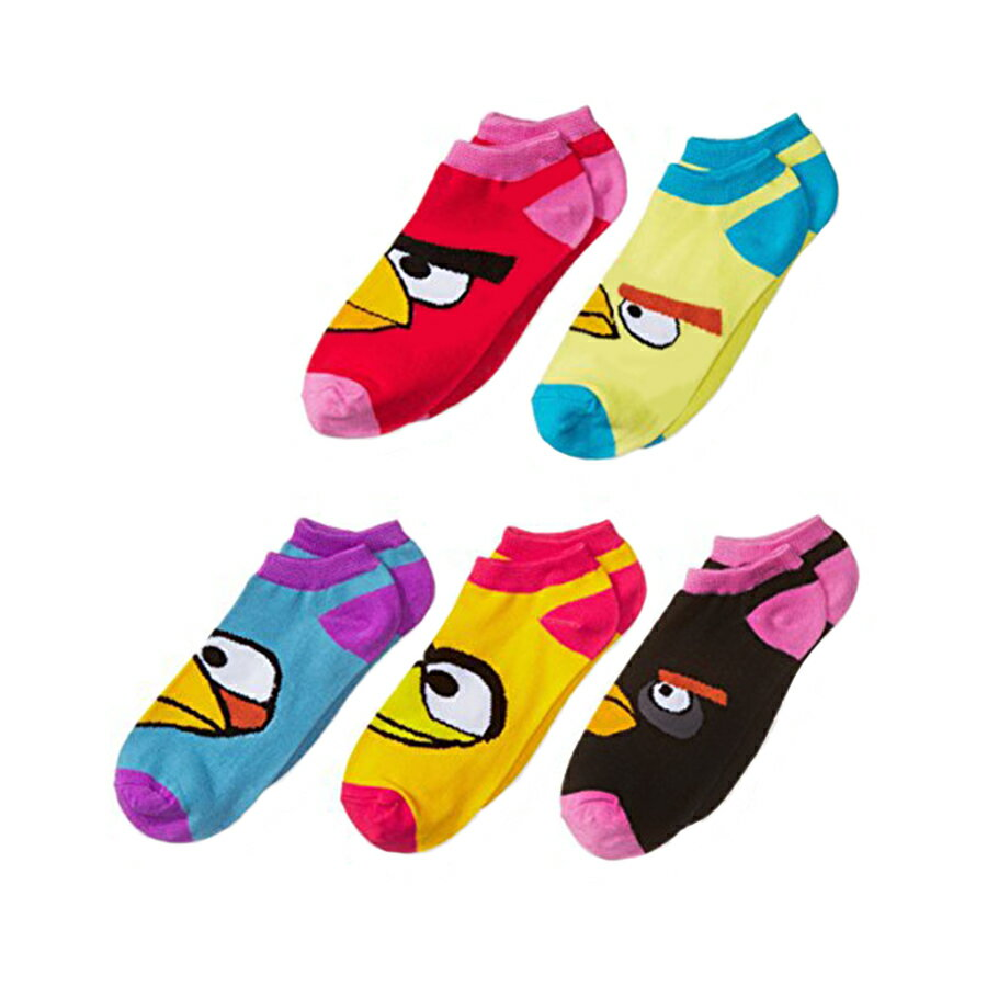 "Angry Birds 5 Pack ""I See You"" Low Rise Girls Socks - Size 4 - 6 Small 0"