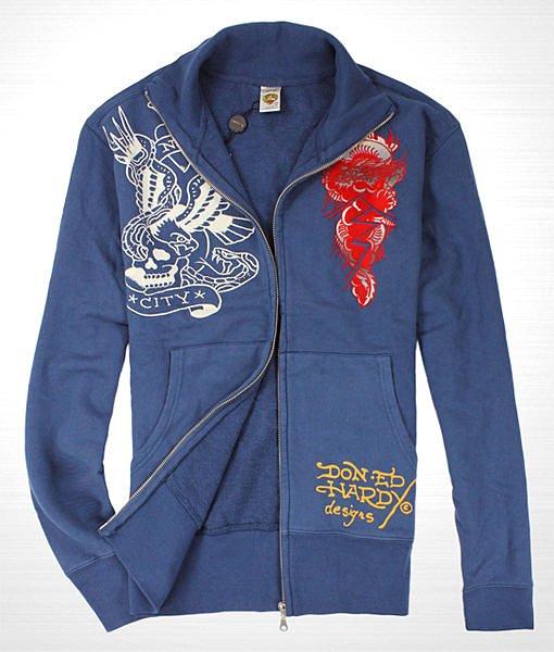 美國百分百【全新真品】Ed Hardy ED 外套 夾克 立領 藍 M XL號 秋冬 帥氣 老鷹 C108