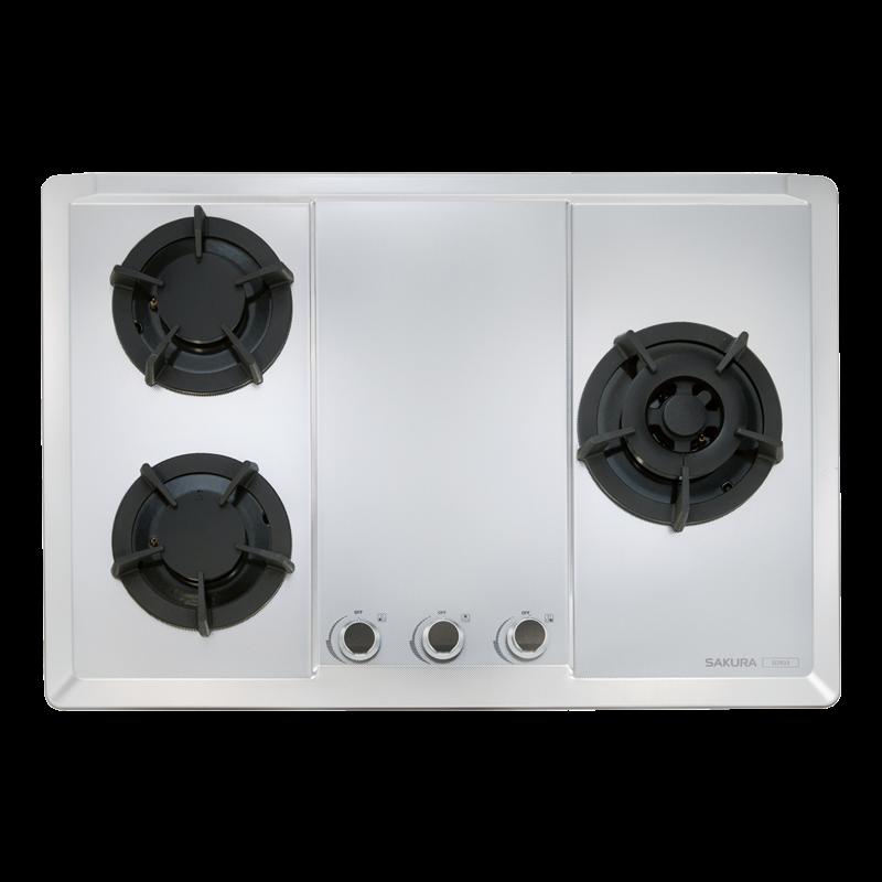 櫻花牌G2633S三口大面板易清檯面爐-珍珠壓紋不鏽鋼面板平整式