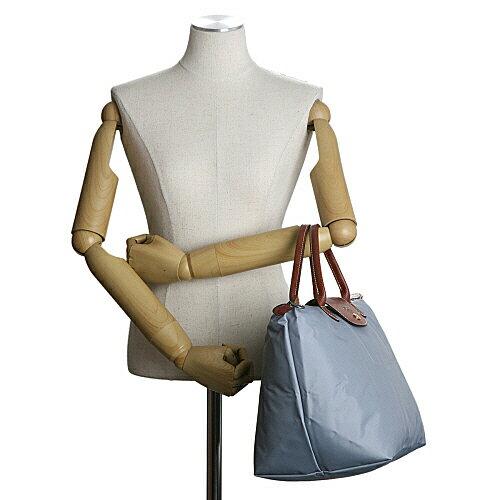[1623-M號]國外Outlet代購正品 法國巴黎 Longchamp  短柄 購物袋防水尼龍手提肩背水餃包 陶灰色 3