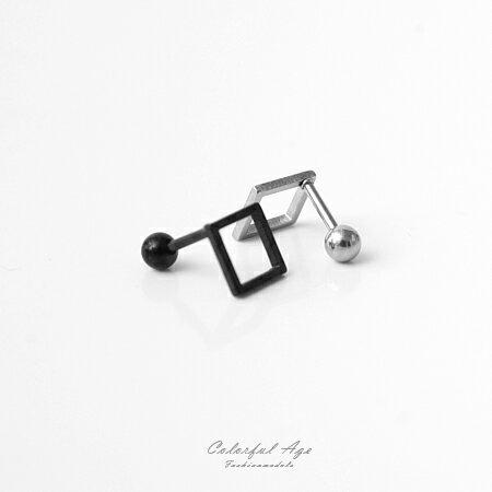 耳環 立體方形鏤空造型鋼製穿式耳針耳環 時尚個性設計 中性款式 柒彩年代【ND286】單支價格