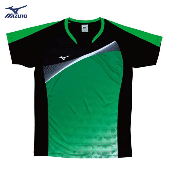 V2TA7G1793(黑X綠)男女通款吸汗快乾、SlimFIT合身版型排球上衣(【美津濃MIZUNO】