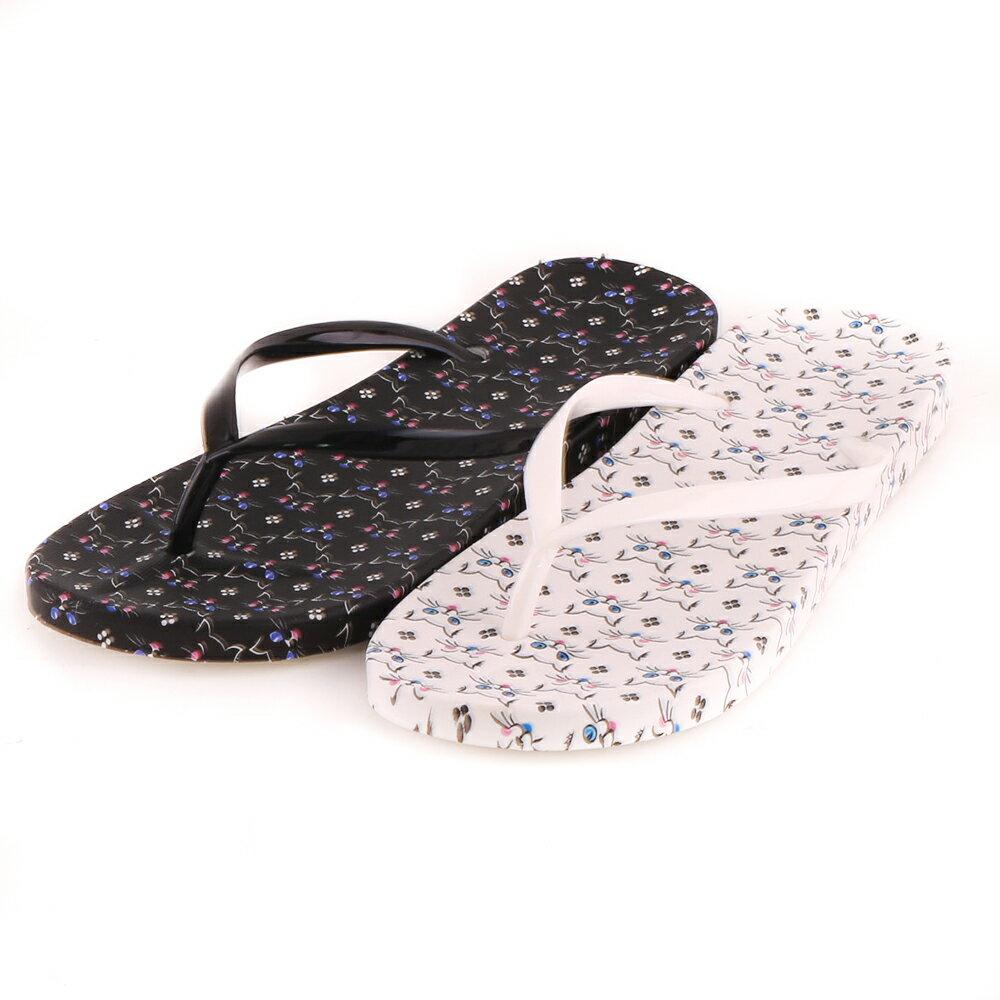 休閒百搭滿版可愛柔軟舒適夾腳拖鞋 人字涼拖鞋 2色 1.5CM【AS2159】 2
