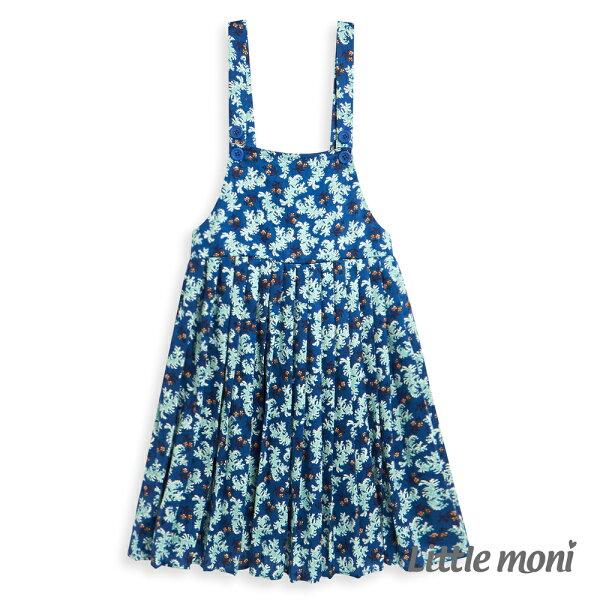 Littlemoni碎花吊帶洋裝-深藍