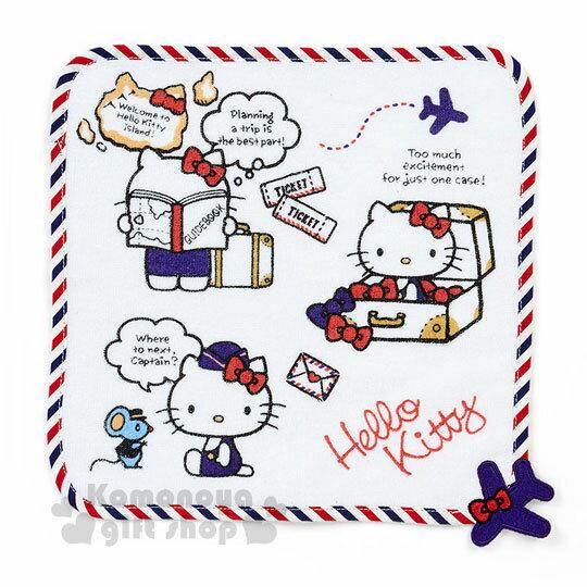 〔小禮堂〕 Hello Kitty 純棉圓角小方巾《白.條紋.25x25cm》空服員遊世界系列