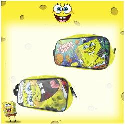 尼克 nick 海綿寶寶 SpongeBob 筆袋 收納袋 手提袋 拉鍊袋 大臉 漢堡 日本進口正版 241171