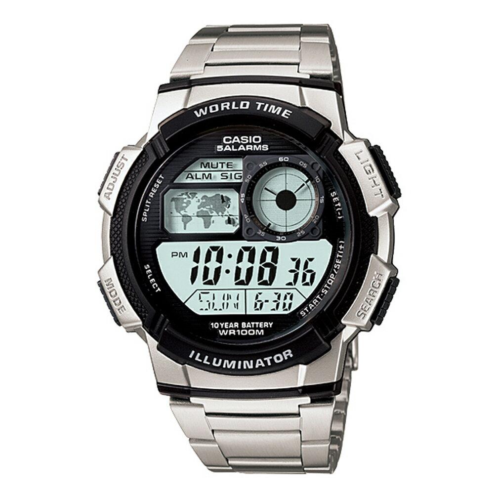 CASIO 卡西歐 AE-1000WD 日系世界地圖多時區顯示不鏽鋼錶 - 限時優惠好康折扣