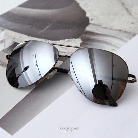 墨鏡 潮流復古款 黑色反光鏡片金屬太陽眼鏡 抗UV400 中性單品 柒彩年代【NY334】MIT台灣製造 - 限時優惠好康折扣